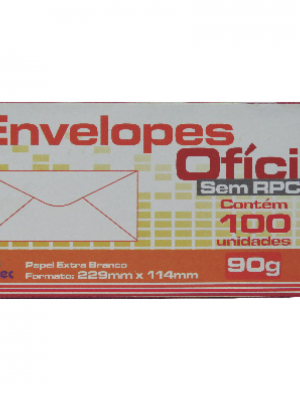 ENVELOPE OFICIO LISO, 90 GSM, 114MM X 229MM, BRANCO, CX C/100