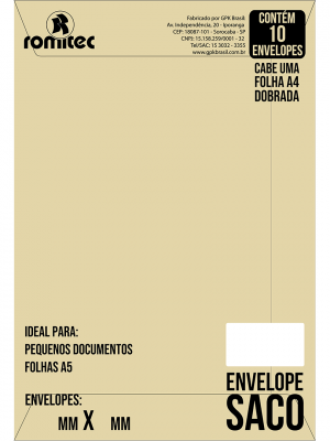 ENVELOPE SACO KRAFT NATURAL KN36 (250MM X 353MM)